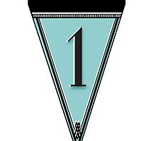 Manhattan 1920s Deco Blues Banner Pennant… number 1  by CecelyBloom