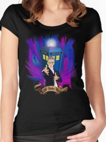Time and Space Traveller with Rainbow Ray Ban Glasses Women's Fitted Scoop T-Shirt