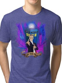 Time and Space Traveller with Rainbow Ray Ban Glasses Tri-blend T-Shirt