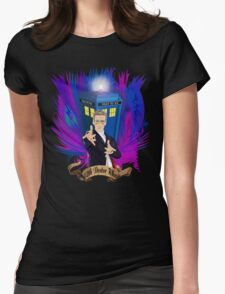 Time and Space Traveller with Rainbow Ray Ban Glasses Womens Fitted T-Shirt