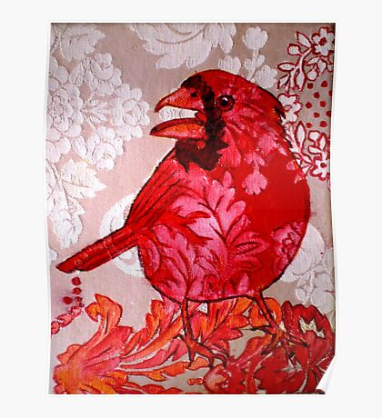 Red Bird Sitting on a Wall Poster