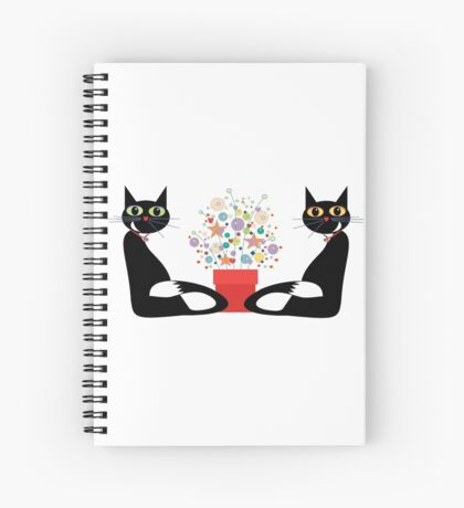 Two Cats With Flowers Spiral Notebook