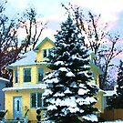 Yellow House in Snow by Susan Savad