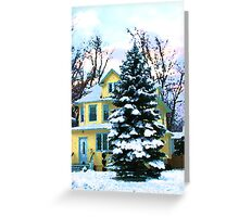 Yellow House in Snow Greeting Card