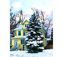 Yellow House in Snow Photographic Print
