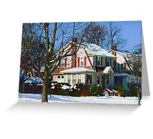 House Down the Street in Winter Greeting Card