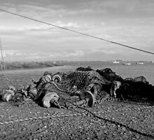 Fishing Gear on the Jetty at Brancaster Straithe, Norfolk, monochrome by johnny2sheds