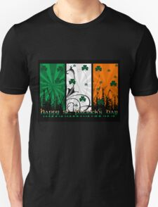St. Patrick's Day T Shirt With Shamrocks & Flag Colours T-Shirt
