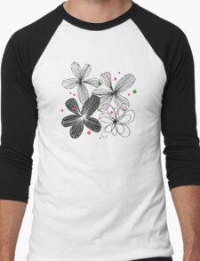 Black & white Men's Baseball ¾ T-Shirt