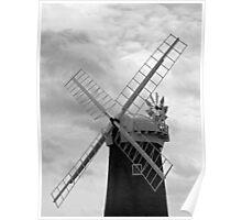 A Wind Pump, Horsey Norfolk, in monochrome,  Poster