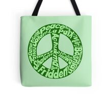 Green peace sign world languages  Tote Bag