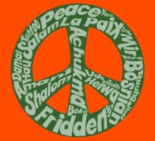 Green peace sign world languages  Kids Tee