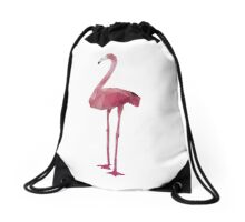 Lowpoly Flamingo Drawstring Bag
