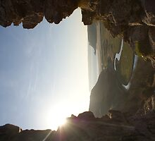 sunlit view through window of pennard castle  by chapperskate