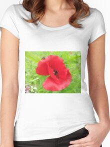 Red Flower Women's Fitted Scoop T-Shirt