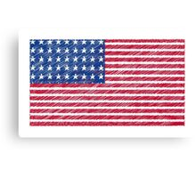 Patriotic Primitive Red and Blue American Stars and Stripes Canvas Print