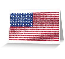 Patriotic Primitive Red and Blue American Stars and Stripes Greeting Card
