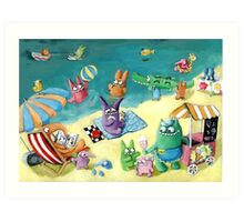 Monster Summer Time on the Beach Art Print