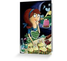Little Girl's Kitchen and cute flying monsters Greeting Card