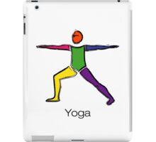 Painting of warrior 2 yoga pose with yoga text. iPad Case/Skin