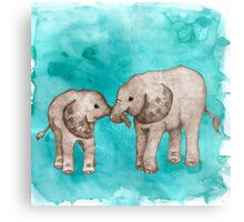 Baby Elephant Love - sepia on teal watercolour Metal Print