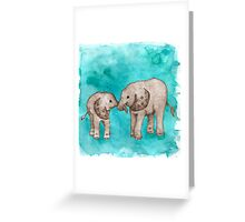 Baby Elephant Love - sepia on teal watercolour Greeting Card