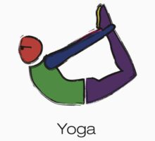 Painting of bow yoga pose with yoga text. Kids Tee