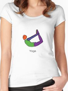 Painting of bow yoga pose with yoga text. Women's Fitted Scoop T-Shirt