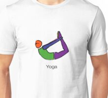 Painting of bow yoga pose with yoga text. Unisex T-Shirt