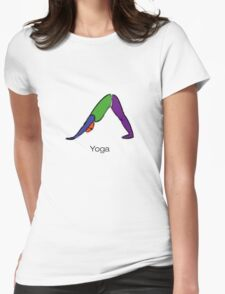 Painting of downward dog yoga pose with yoga text. Womens Fitted T-Shirt