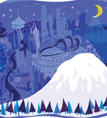 Seattle Cityscape with Mt. Rainier by Wendy Wahman Sticker