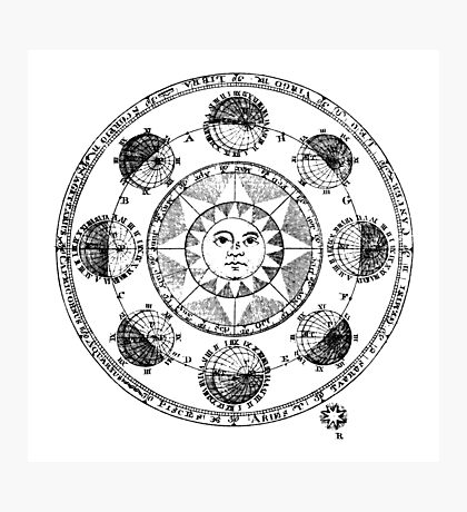 Medieval Astronomical Chart of Planets Photographic Print