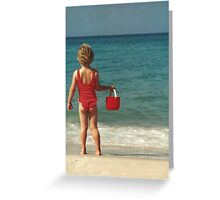 Girl with Red Bucket Greeting Card