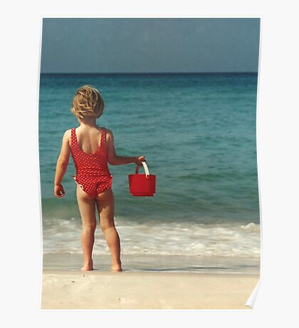Girl with Red Bucket Poster