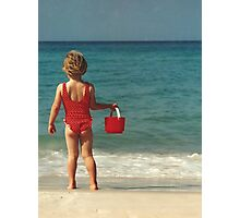 Girl with Red Bucket Photographic Print