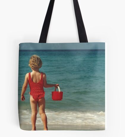 Girl with Red Bucket Tote Bag