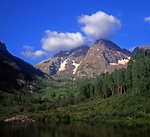 Maroon Bells and Low Clouds by Mike Norton