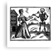 Death and the Maiden - woodcut Canvas Print