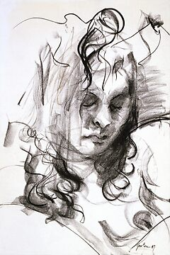 Janine (Black Pastel) by Stephen Gorton