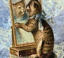 Blue Victorian Cat Vintage Mirror by designsbycclair