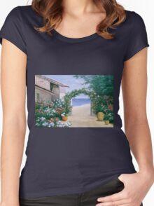 SEASIDE TRELLIS Women's Fitted Scoop T-Shirt