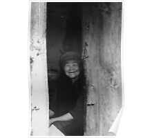 Old women in China black white photo Poster