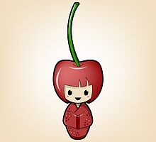 Cherry Kokeshi Doll by Bubble Doll
