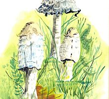 mushrooms on forest floor  -watercolor by Gordon Pegler