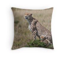 Cheetah & Cub Throw Pillow