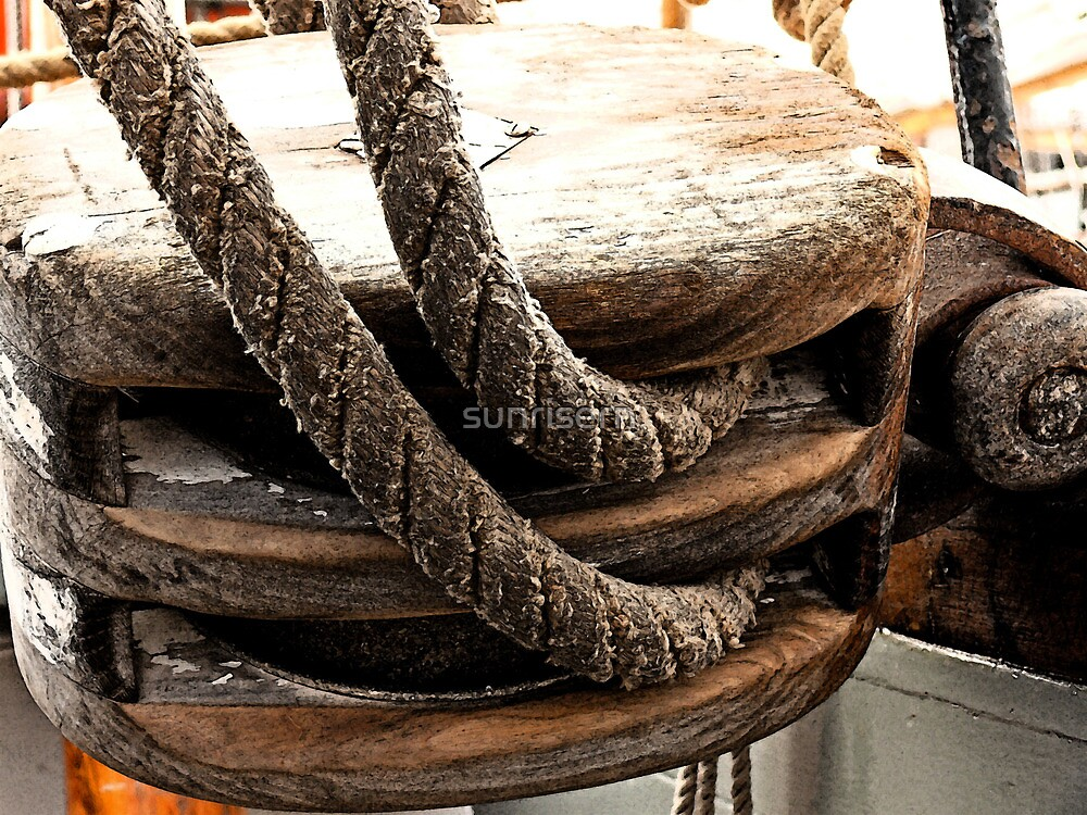 Antique Tall Ship Pulley by sunrisern