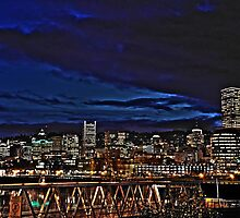 Portland Oregon at night by pdsfotoart