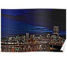 Portland Oregon at night Poster