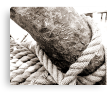 Antique Tall Ship Anchor And Rope Canvas Print