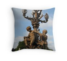 Cherubs on Pont Alexandre III Bridge Throw Pillow